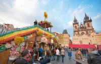 Decoration of Easter market, Old Town Square, Prague